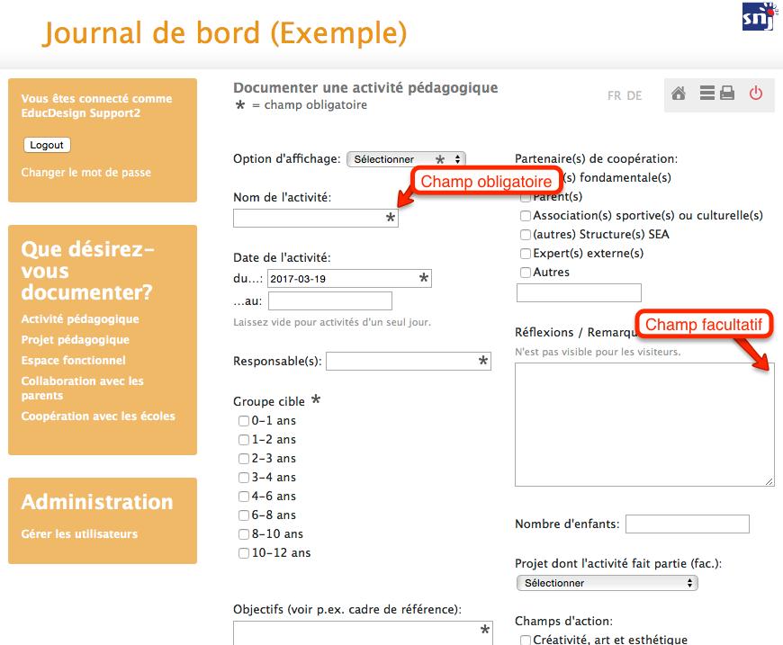 journal-de-bord.lu: Manuel > Rédiger des documentations